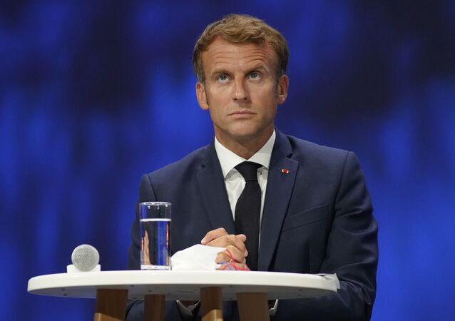 O presidente francês Emmanuel Macron participa da reunião de Economia do Mar em Nice, sul da França, 14 de setembro de 2021