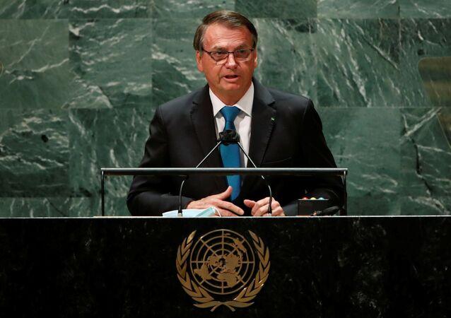 Jair Bolsonaro discursando na 76ª Assembleia Geral da Organização das Nações Unidas (ONU)