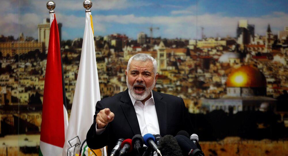 Líder do Hamas, Ismail Haniyeh, durante discurso sobre decisão de Donald Trump de reconhecer Jerusalém como capital de Israel, na Faixa de Gaza