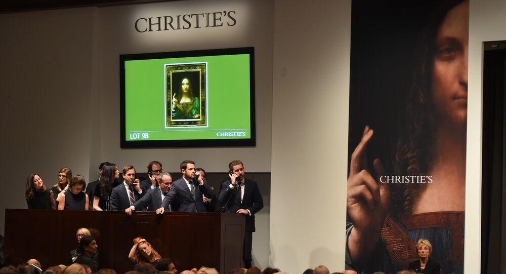 Participantes no leilão na Christie's fazem ofertas de compra da obra de Leonardo da Vinci, Salvator Mundi