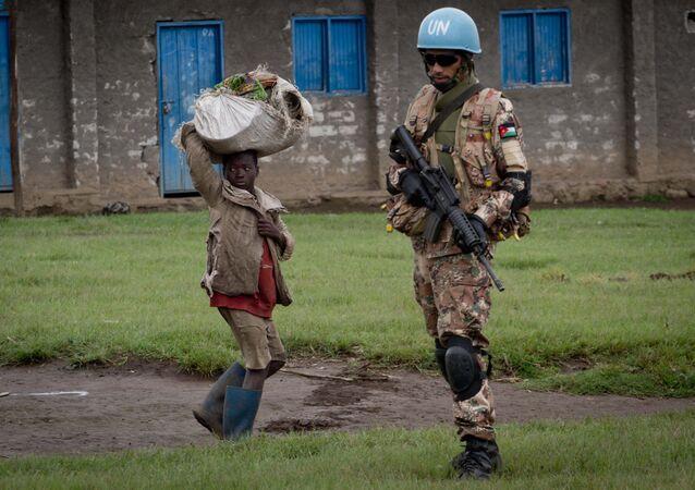 Capacetes azuis da ONU em missão de paz no Congo