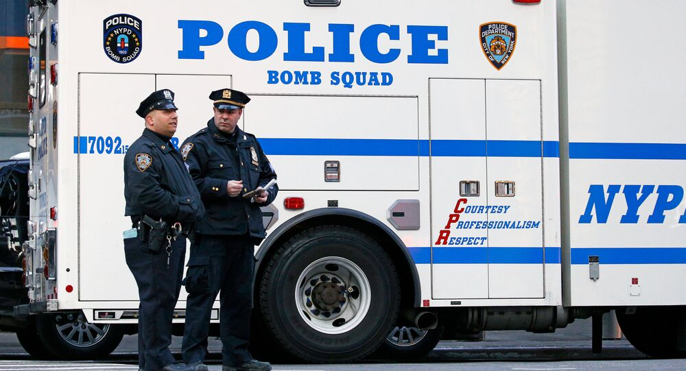 Police officers stand outside the New York Port Authority in New York City, U.S. December 11, 2017 after reports of an explosion
