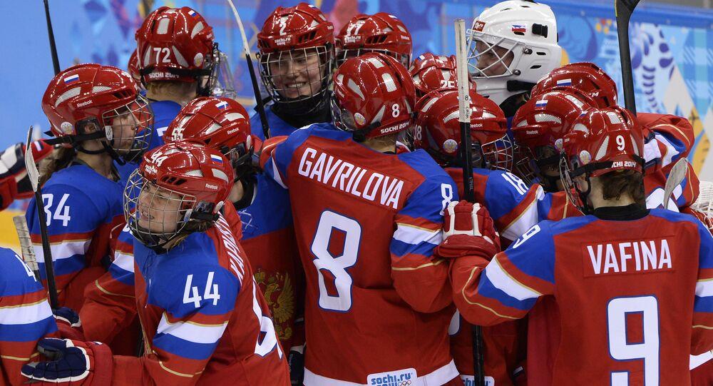 Seleção feminina da Rússia de hóquei no gelo durante os Jogos Olímpicos de Inverno de Sochi, em 2014