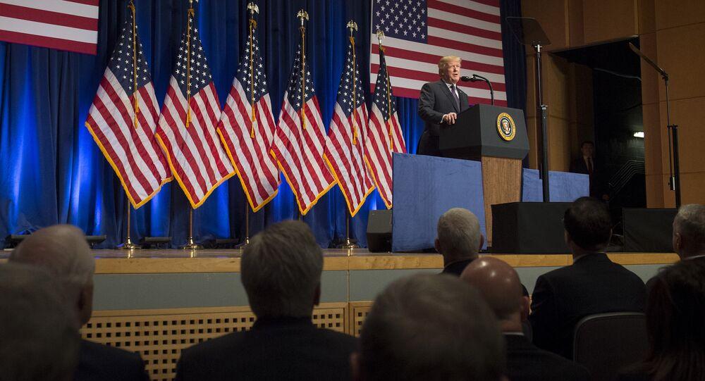Donald Trump discursando sobre a nova Estratégia de Segurança Nacional, 18 de dezembro de 2017