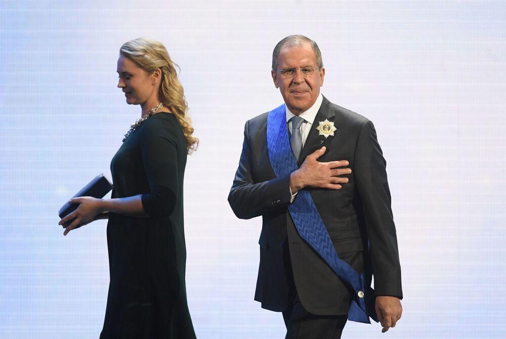 O ministro das Relações Exteriores da Rússia, Sergei Lavrov, durante a 25ª cerimônia de atribuição do prêmio internacional Vera e Vernost (Fé e Fidelidade em russo)