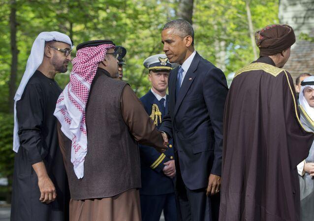 Barack Obama e líderes de vários países árabes do golfo Pérsico durante encontro em Camp David