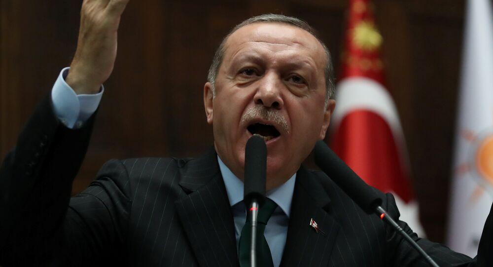 Presidente da Turquia, Recep Tayyip Erdogan, discursa para os parlamentares em 5 de dezembro de 2017