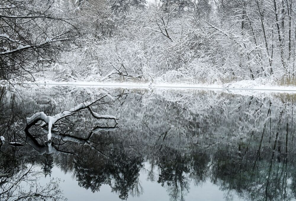 Lago Azul de Kazan no inverno