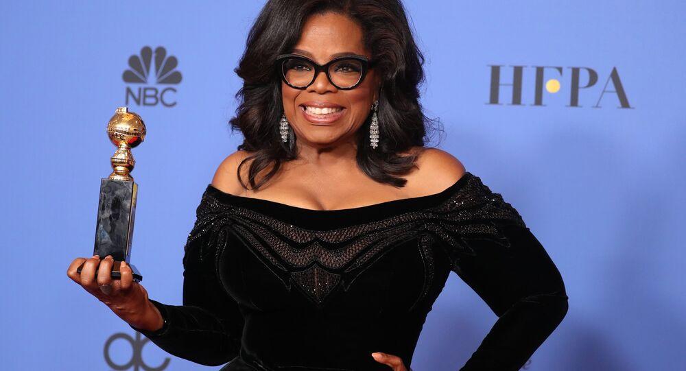 Apresentadora Oprah Winfrey durante a premiação do Globo de Ouro