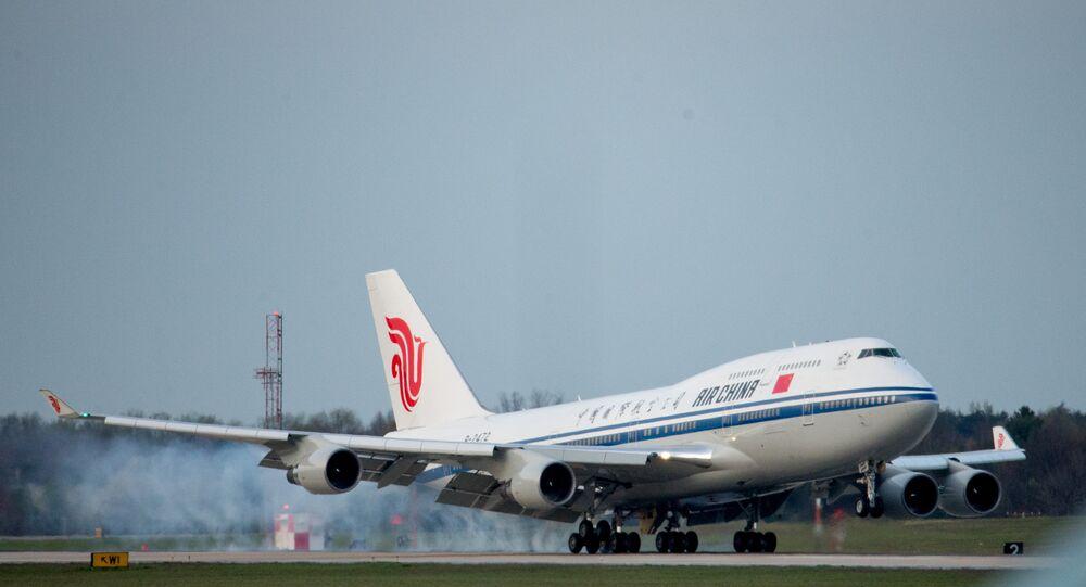 Avião de Air China utilizado para transportar o presidente chinês, Xi Jinping