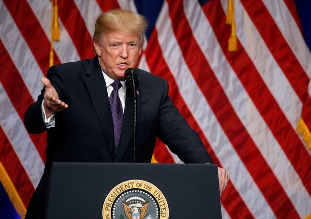 Presidente dos EUA, Donald Trump, em 18 de dezembro de 2017
