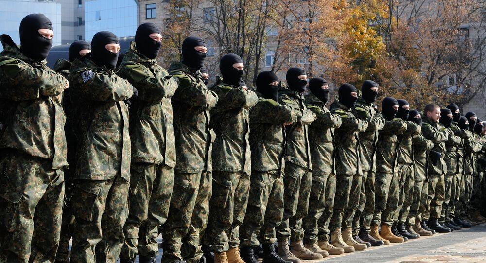 Envio de cadetes da unidade ucraniana Azov à zona conflituosa no sudeste ucraniano