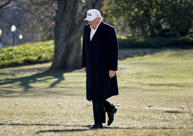 President Donald Trump walks across the South Lawn as he arrives at the White House in Washington, Sunday, Jan. 7, 2018, after traveling from Camp David, Md.