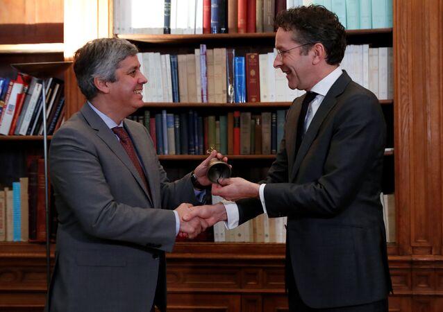 Cerimônia de entrega da liderança do Eurogrupo a Mário Centeno por Jeroen Dijsselbloem, 12 de janeiro de 2018