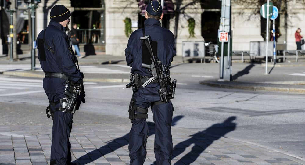 Armed police officers at the Gustaf Adolfs square in central Stockholm, Sweden (file)