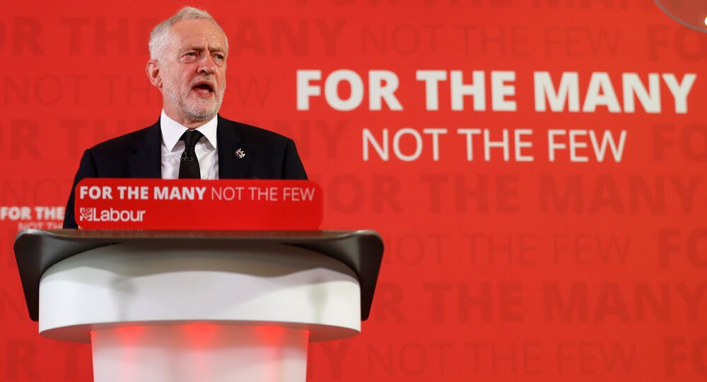 Jeremy Corbyn, the leader of Britain's opposition Labour party, makes a speech as his party restarts its election campaign after the cross party suspension that followed the Manchester Arena attack, in London, May 26, 2017.