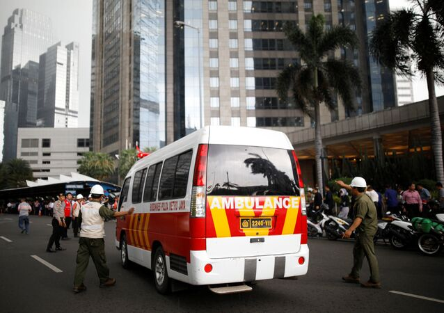 Bolsa de Valores da Indonésia depois do colapso de um dos pisos, Jakarta, 15 de janeiro de 2018