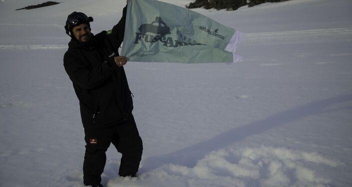 Nauro Júnior na Antártica.
