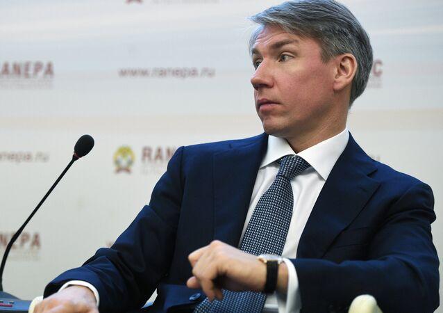 Presidente do Comitê Organizador da Copa do Mundo 2018, Aleksei Sorokin, no Fórum Gaidar anual na cidade de Moscou, em 17 de janeiro de 2018