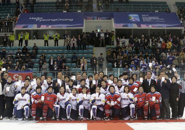 Equipe de hóquei no gelo conjunta da Coreia do Sul e da Coreia do Norte
