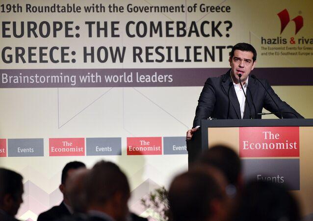 O primeiro-ministro grego, Alexis Tsipras, durante conferência realizada nesta sexta-feira (15) em Atenas