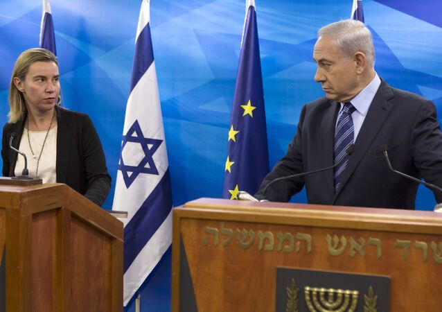 EU Foreign Affairs and Security Policy Federica Mogherini, left, speaks during a joint news conference with Israeli Prime Minister Benjamin Netanyahu.