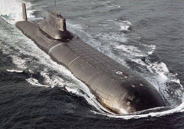 """Submarino nuclear do projeto 941 Akula (Tubarão"""" em russo)"""