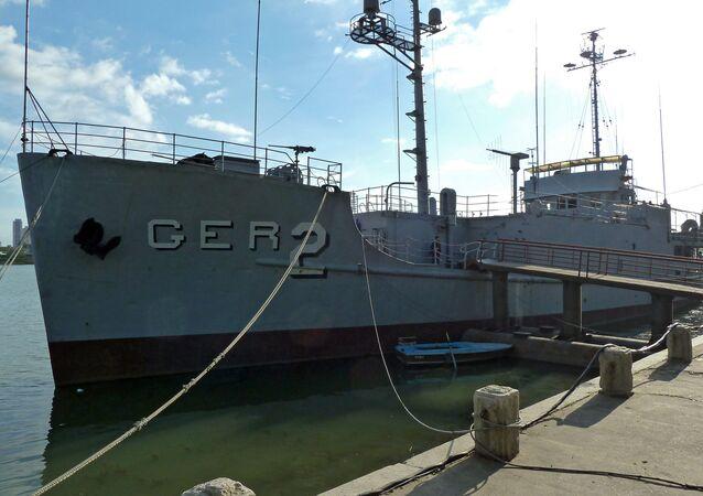 Navio USS Pueblo no porto de Pyongyang (foto de arquivo)