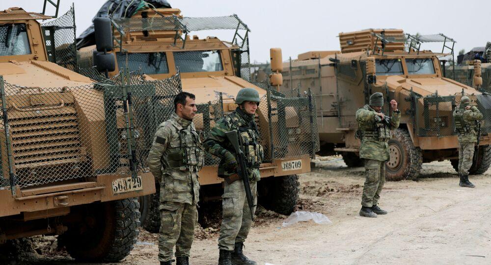 Forças turcas perto de Afrin, Síria, 22 de janeiro de 2018