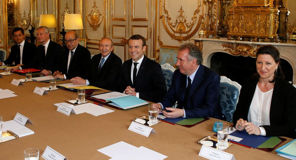 French President Emmanuel Macron (3rdR) chairs his first cabinet meeting as President with his newly named ministers, from the left, Budget Minister Gerald Darmanin, Economy Minister Bruno Le Maire, Foreign and European Minister Jean-Yves Le Drian, Interior Minister Gerard Collomb, Justice Minister Francois Bayrou, and Health and Solidarity Minister Agnes Buzyn, at the Elysee Palace in Paris, France, May 18, 2017