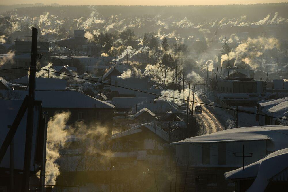Povoado de Novolugovoe, nos arredores de Novosibirsk, com temperaturas de 36 graus negativos