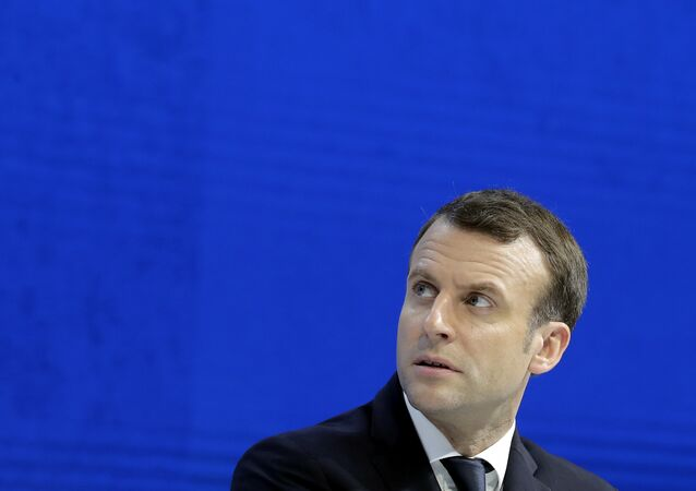 O presidente da França, Emmanuel Macron, é visto durante o Fórum Econômico Internacional em Davos em 24 de janeiro de 2018