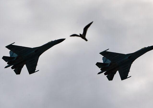 Su-27 russos, foto de arquivo