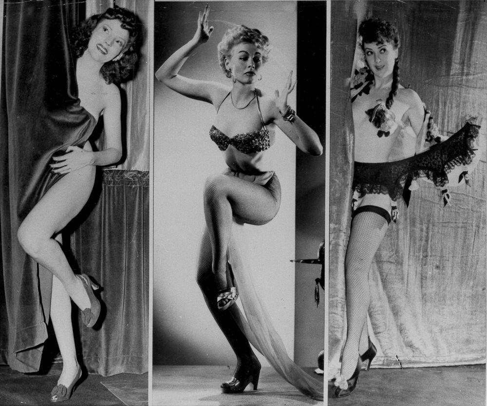 Strippers Margie Hart, Lili St. Cyr e Gypsy Rose Lee do Teatro Old Howard, Boston