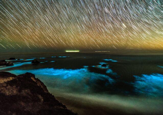 Fitoplâncton bioluminescente nas ondas ao longo da costa da região de Big Sur, no centro da Califórnia, em 6 de fevereiro de 2018