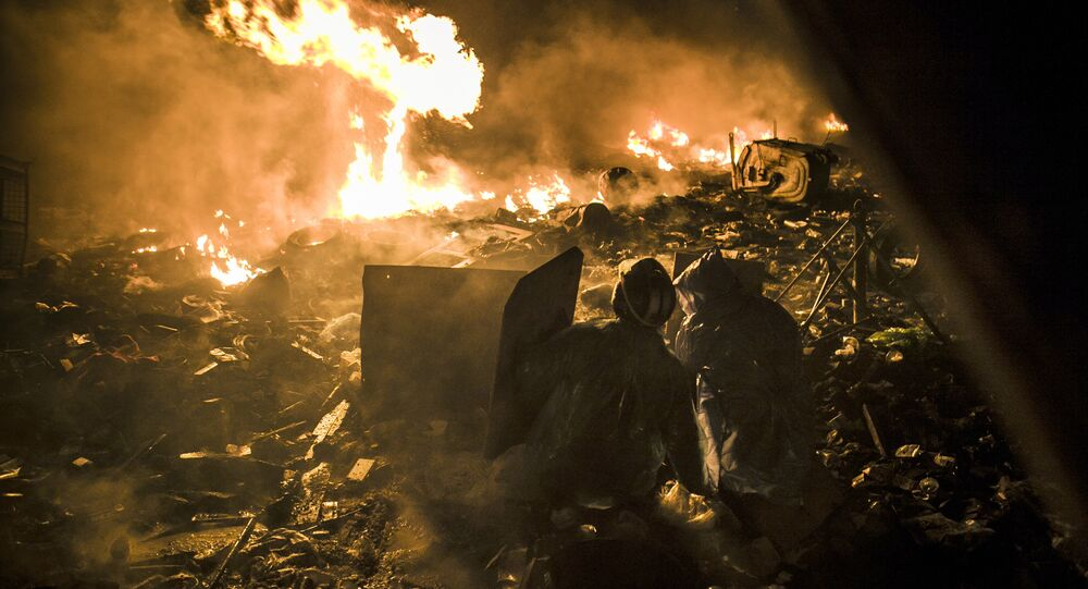 Situação na Praça da Independência de Kiev, conhecida como Maidan, em fevereiro de 2014