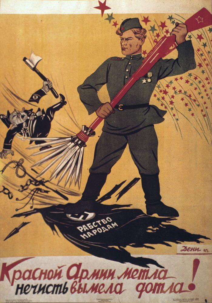 Vassoura do Exército Vermelho varreu os parasitas de uma vez por todas! por Viktor Deni, 1945