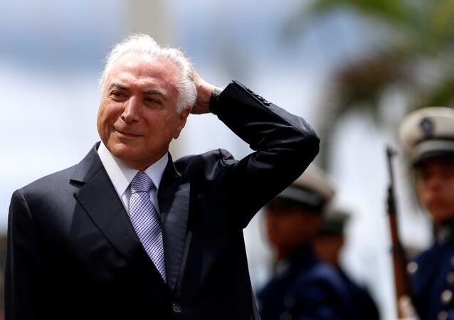 O presidente do Brasil, Michel Temer, chega à reunião do Conselho Militar de Segurança em Brasília, 22 de fevereiro de 2018