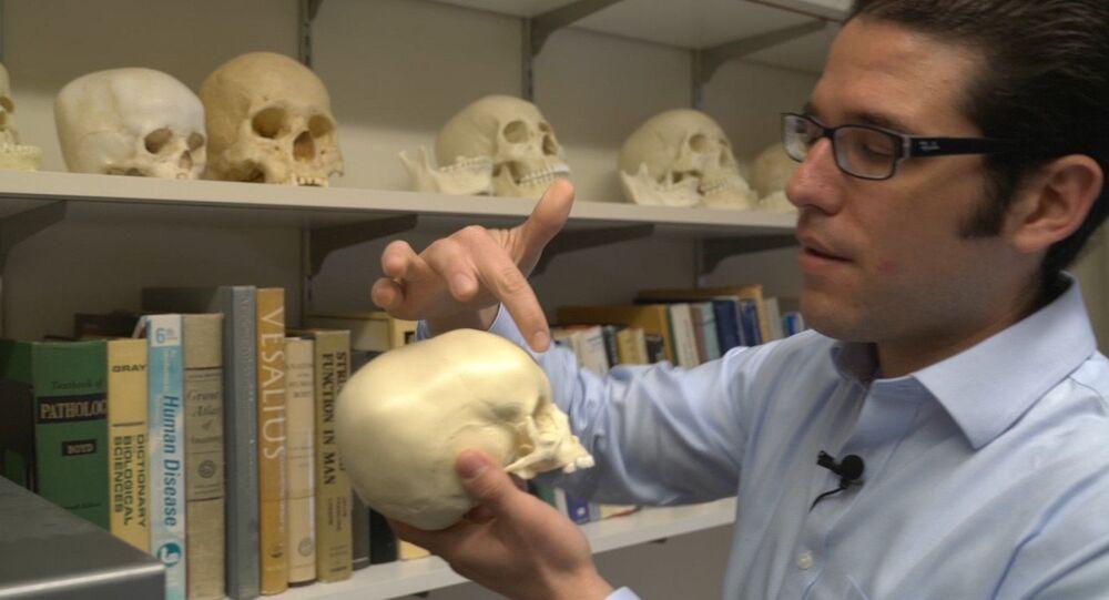 Arqueólogo Matthew Velasco com uma cópia de um crânio de criança