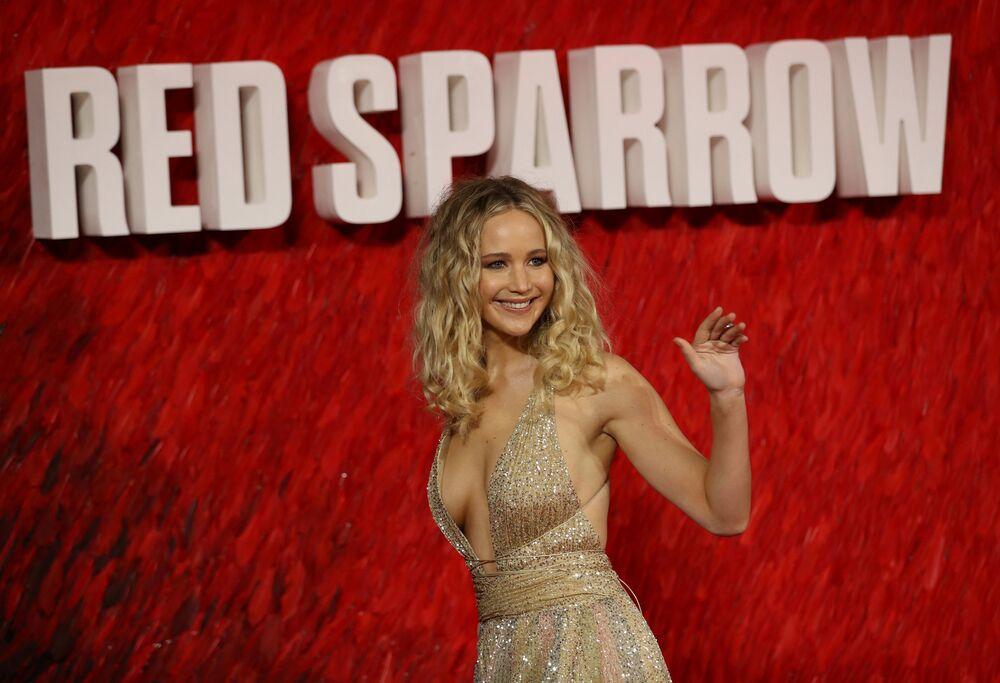 Atriz Jennifer Lawrence durante a estreia europeia do filme Red Sparrow no Reino Unido