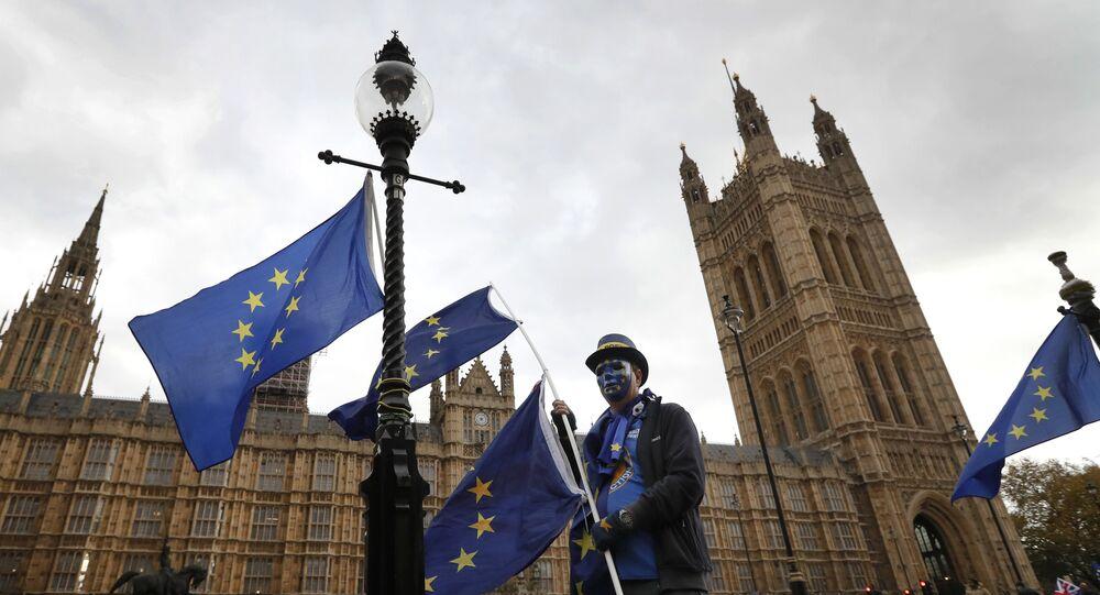 Manifestante pró-UE protesta contra o Brexit em frente ao Parlamento em Londres (novembro de 2017)