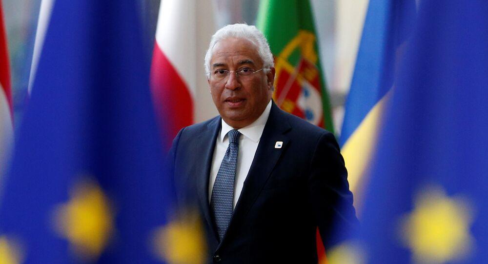 Primeiro-ministro de Portugal, António Costa, chega a reunião informal da UE em Bruxelas, 23 de fevereiro de 2018
