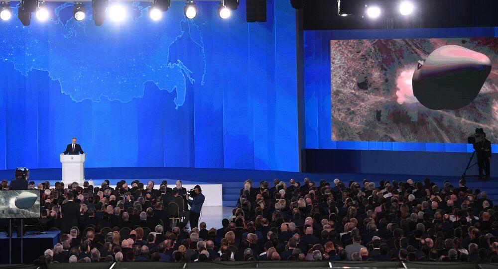 Presidente russo, Vladimir Putin, durante seu discurso anual perante a Assembleia Federal (Parlamento bicameral russo) (foto de arquivo)