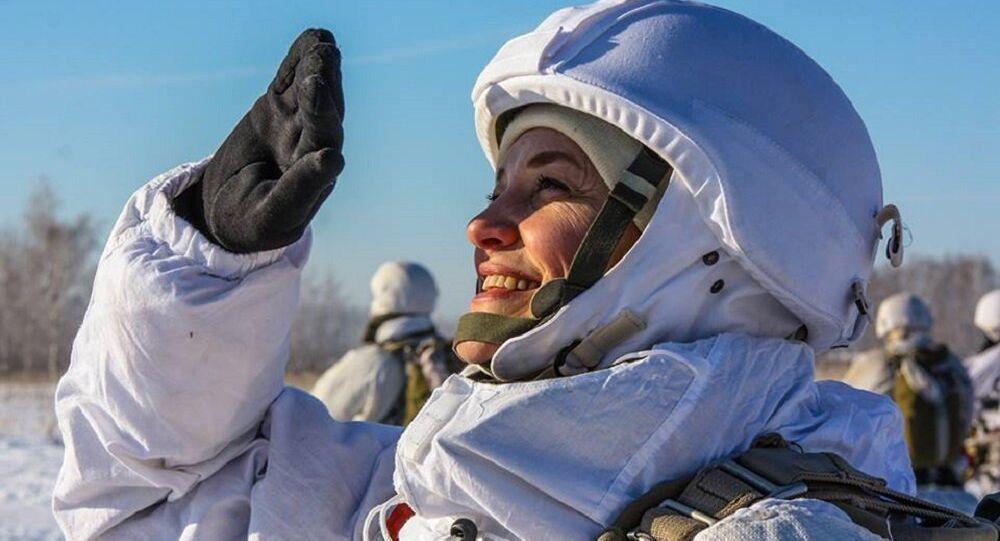 Treinamento das militares de uma unidade feminina de inteligência militar na região de Tambov
