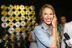 A apresentadora de TV Ksenia Sobchak participa da cerimônia de premiação do concurso de música internacional Novaya Volna 2011