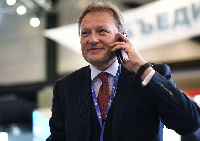 Delegado da Presidência da Rússia para defesa dos direitos dos empresários, Boris Titov, no Fórum Econômico Internacional de São Petersburgo, junho de 2017