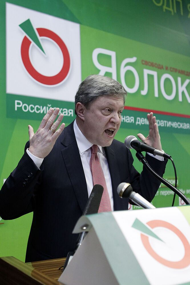 Líder do partido Yabloko, Grigory Yavlinsky, discursa durante a segunda etapa do XVI Congresso do partido em uma cidade da região de Moscou, dezembro de 2011