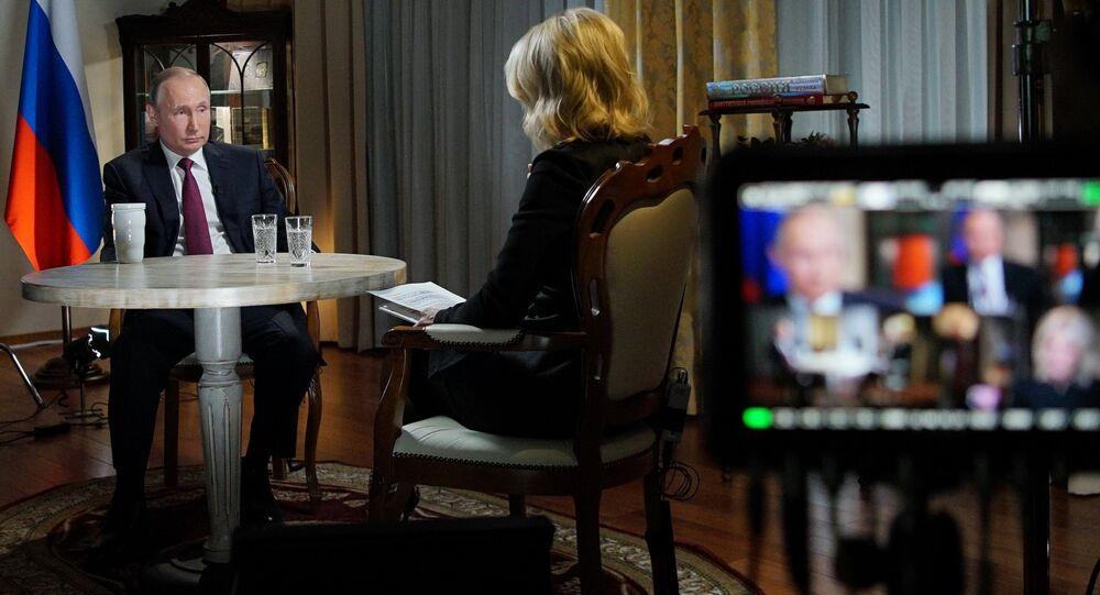 Vladimir Putin em entrevista com a NBC em março de 2018.