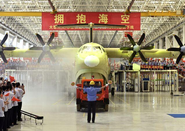 Veículo chinês AG600, foto postada pela agência de notícias Xinhua, em 23 de julho de 2016. Representante da agência comunica que a maior aeronave anfíbia do mundo será destinada a missões marítimas e ao combate de incêndios
