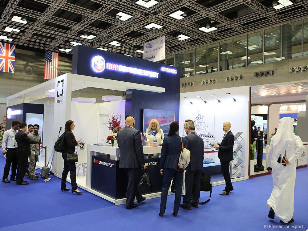 Estande da exportadora de armamentos estatal russa Rosoboronexport na Exposição Internacional de Defesa Marítima DIMDEX 2018 no Qatar